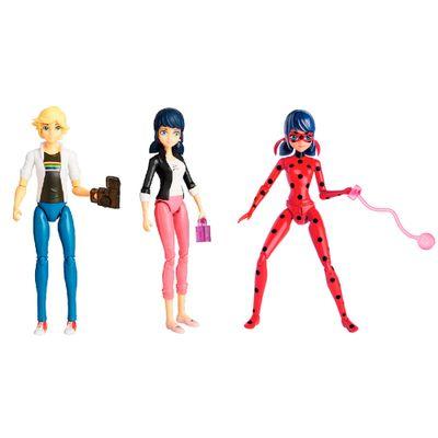 Kit 3 Bonecas com Acessórios Miraculous - 15 cm - Ladybug, Marinette e Adrien - Sunny