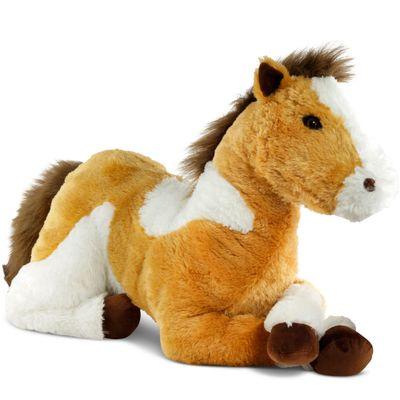 Pelúcia 95 CM - Bicho Mundi - Cavalo Grande - Bege e Branco - DTC