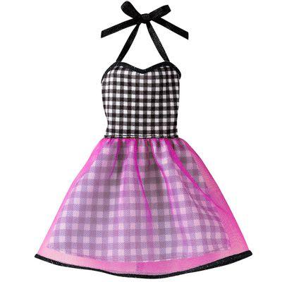 Roupinha para Boneca Barbie - Xadrez Preto e Roxo - Mattel