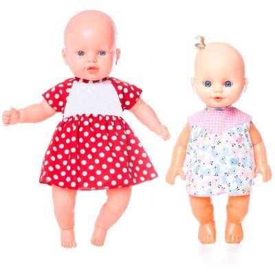 Kit-2-Bonecas---Nina-Vestido-Vermelho-com-Poas-e-Nininha-Vestido-Rosa---Estrela