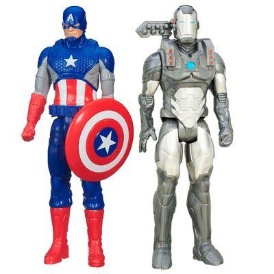 Kit-de-Bonecos-30-Cm---Titan-Hero-Series---Disney---Marvel-Avengers---Machine-War-e-Capitao-America---Hasbro