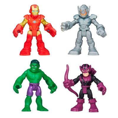 Kit de Bonecos - Disney - Marvel - Super Hero Adventures - Hulk, Hawkeye, Iron-Man e Ultron - Hasbro