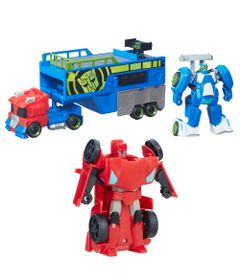 Kit-de-Bonecos-Transformaveis---Transformers---Rescue-Bots---Sideswipe-e-Trailer-de-Corrida---Hasbro