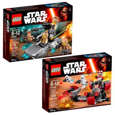 Kit-LEGO---Disney---Star-Wars---75131-e-75134---Conjunto-de-Batalha-e-Nave-de-Batalha-da-Resistencia
