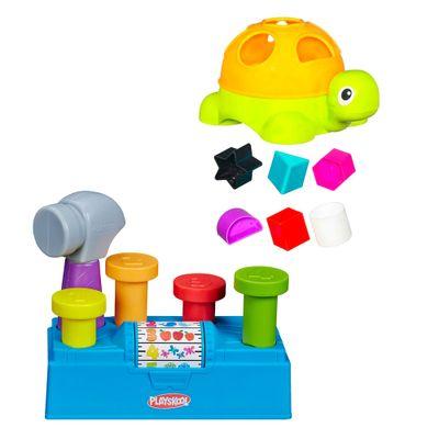 Kit-Playskool---Tartarugas-com-Formas-e-Centro-de-Atividades---Martelar-e-Aprender---Hasbro