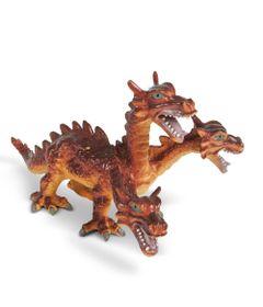 Figura-Bicho-Mundi---23-Cm---Dragoes---Vermelho-com-3-Cabecas---DTC