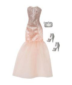 Roupinha-para-Bonecas-Barbie---Vestido-Longo-com-Gliter-Prata---Mattel