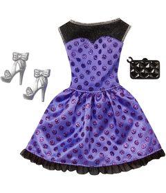 Roupinha-para-Bonecas-Barbie---Vestido-Roxo-e-Preto-com-Gliter---Mattel