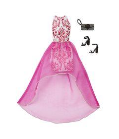 Roupinha-para-Bonecas-Barbie---Vestido-Top-Branco-com-Gliter-Pink---Mattel