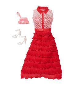 Roupinha-para-Bonecas-Barbie---Vestido-Vermelho-e-Branco-sem-Manga---Mattel