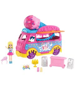 Mini-Boneca---Polly-Pocket---Polly-com-Carro-de-Carnaval---Carro-de-Sorvete---Mattel