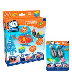 Kit-3D-Maker---Conjunto-com-2-Refis-e-Mega-Refil---3D-Magic---DTC