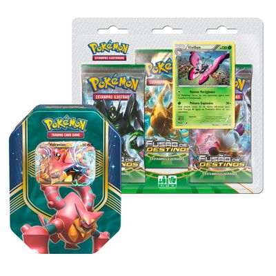 Kit-Decks-Pokemon---Lata-Pokemon-EX---Volcanion-e-Blister-Triplo---Vivilion---Copag