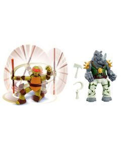 Kit-Bonecos-Articulados---Tartarugas-Ninja---Michelangelo-e-Rocksteady---Multikids