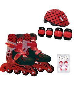 Patins-Ajustaveis-com-Kit-de-Seguranca---33-ao-36---Miraculous---Ladybug---Fun