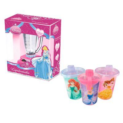 Kit-Disney---Princesas---3-Copos-com-Canudos-e-Liquidificador-Liquifrutinha