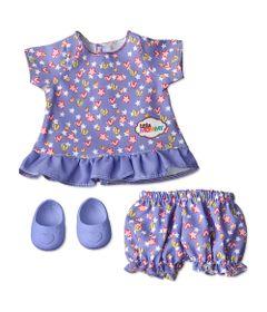 Conjuntinho-Roxo-com-Coracoes-e-Estrelas-para-Boneca-Little-Mommy---Vestido-Shortinho-e-Sapatilhas---Laco-de-Fita