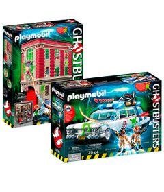 Kit-Playmobil---Playset-com-Veiculo-e-Mini-Figuras---Ghostbusters---Quartel-General-e-ECTO-1---Sunny