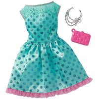Roupinha-para-Boneca-Barbie---Look-Completo---Vestido-Turquesa-de-Bolinhas---Mattel