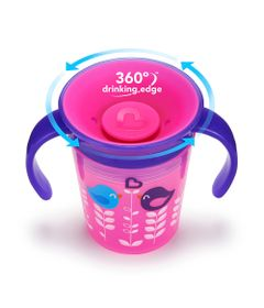 Copo-de-Treinamento---177-ml---Miracle-360---Deco--Roxo-e-Rosa---Munchkin