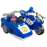 Figura-Mighty-Morphin-Power-Rangers---Zord-Rangers---Moto-Triceratops-Ranger-Azul-e-Rosa---Mattel