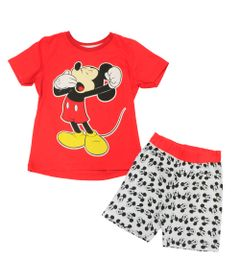 Pijama-Manga-Curta-em-Meia-Malha---Vermelho-e-Branco---Mickey---Disney---1