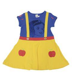 Vestido-Fantasia-Manga-Curta-em-Cotton---Azul-e-Amarelo---Branca-de-Neve---Princesas---Disney---1
