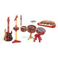 Kit-de-Instrumentos-Musicais-Infantis---Disney-Carros---Flauta-Doce-Microfone-Karaoke-e-Microfone-com-Luz-Bateria-Teclado-e-Guitarra---Toyng