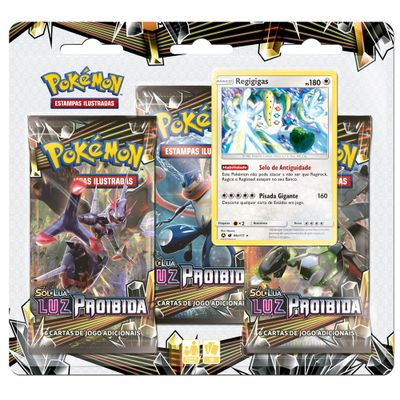 Deck Pokémon Triple Pack - Sol e Lua - Luz Proibida - Regigigas - Copag
