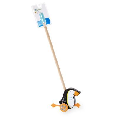 Puxa e Empurra de Madeira - Imaginarium - Animais - Pinguim - New Toys