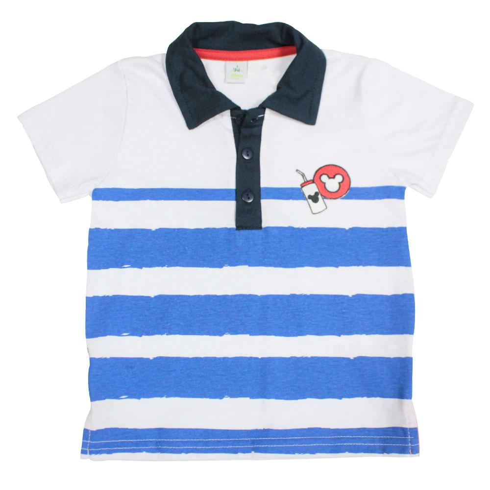 Camisa Polo Manga Curta - Branco e Azul Marinho - Mickey Mouse - Disney