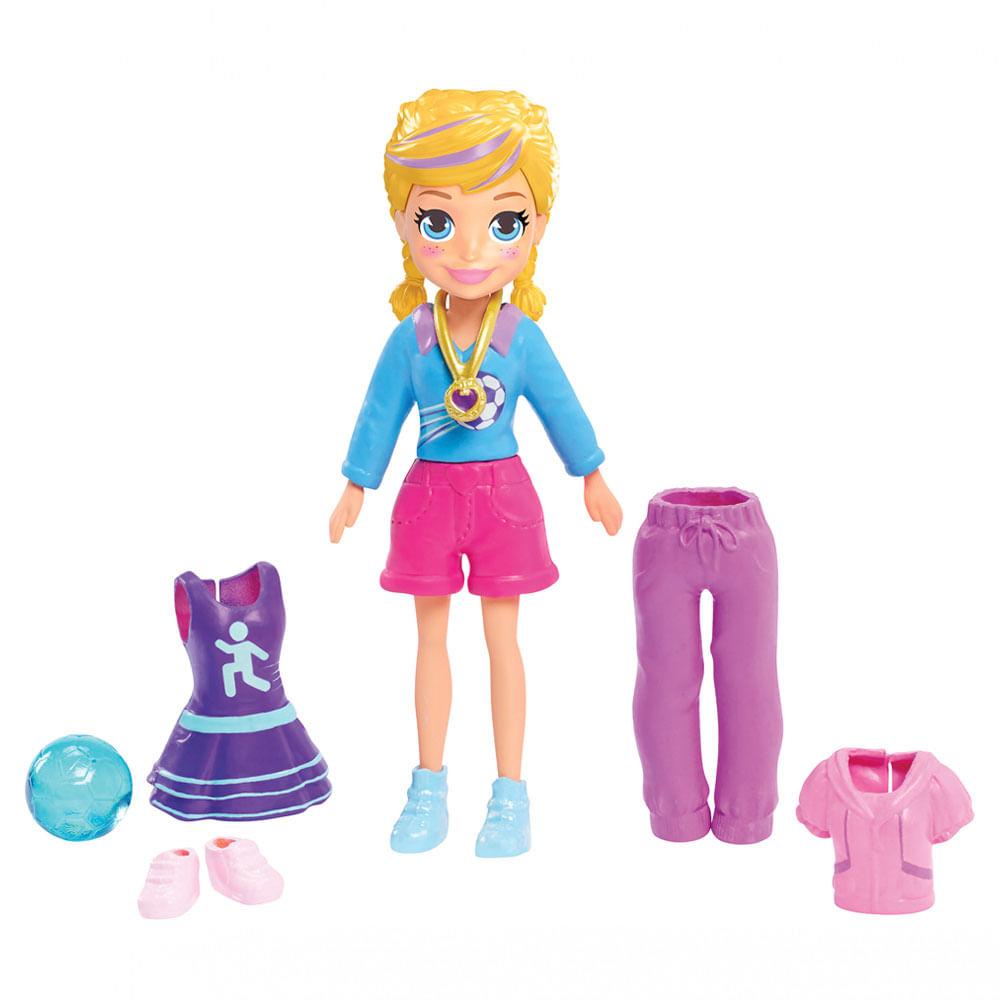 Boneca com Acessórios - Polly Pocket - Polly Estrela do Futebol - Mattel