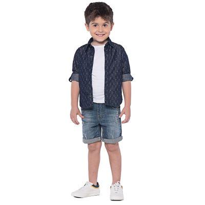 Camisa Infantil - Manga Longa - Jeans - Azul Escura - Mania Kids - 3