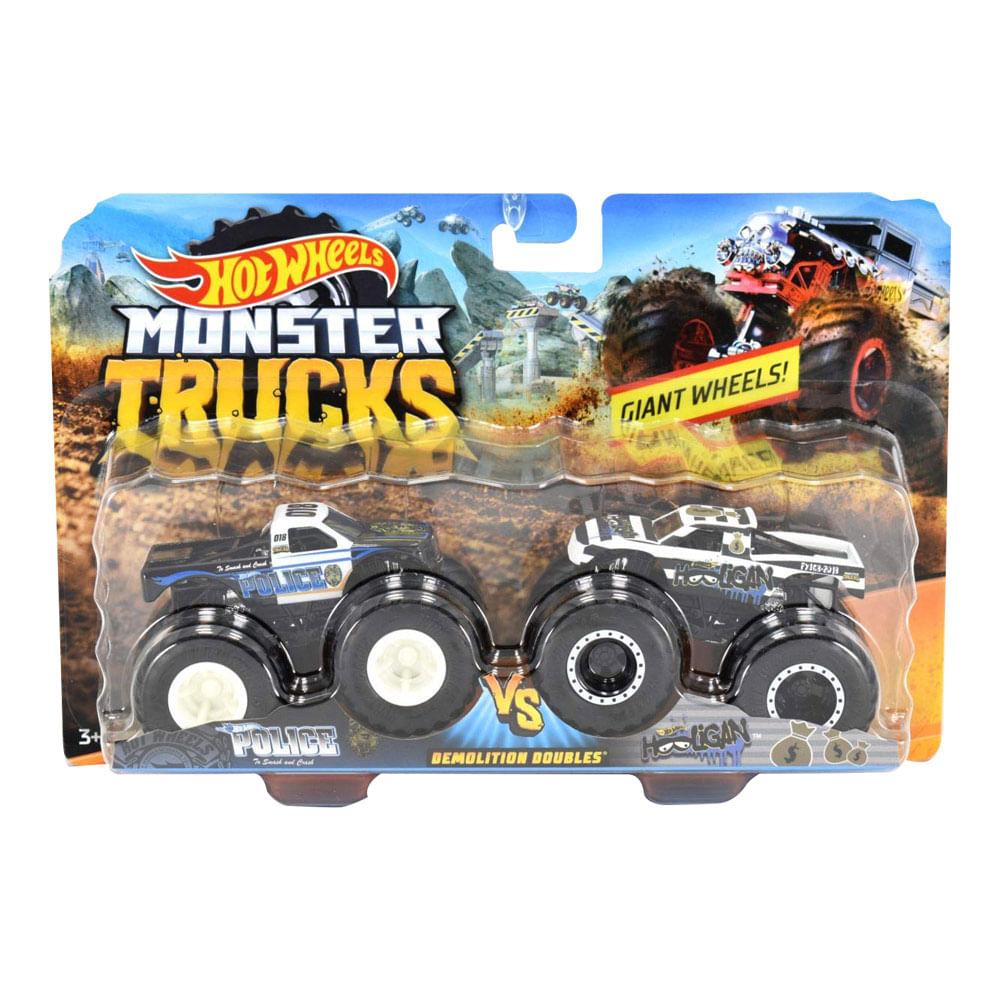 Conjunto de Veículos Hot Wheels - Monster Trucks - Police e Hooligan - Mattel