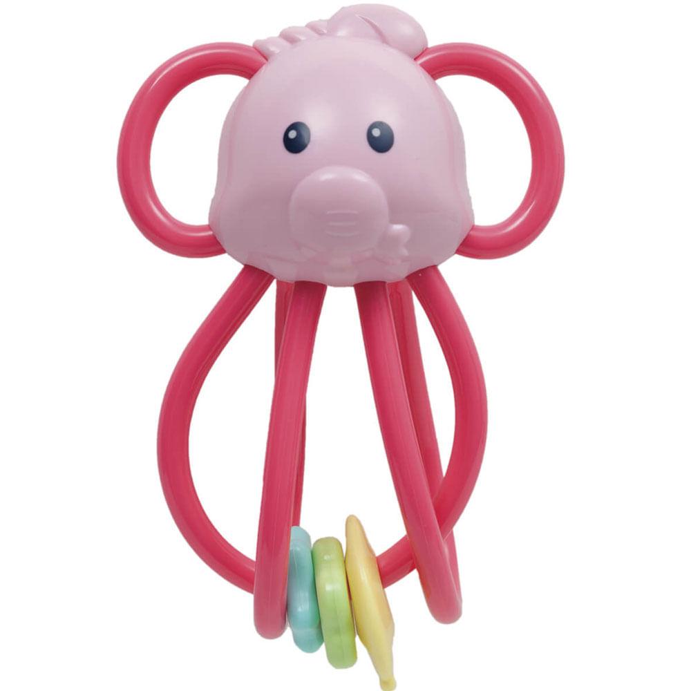 Chocalho Elefantinho Divertido - Rosa - Buba