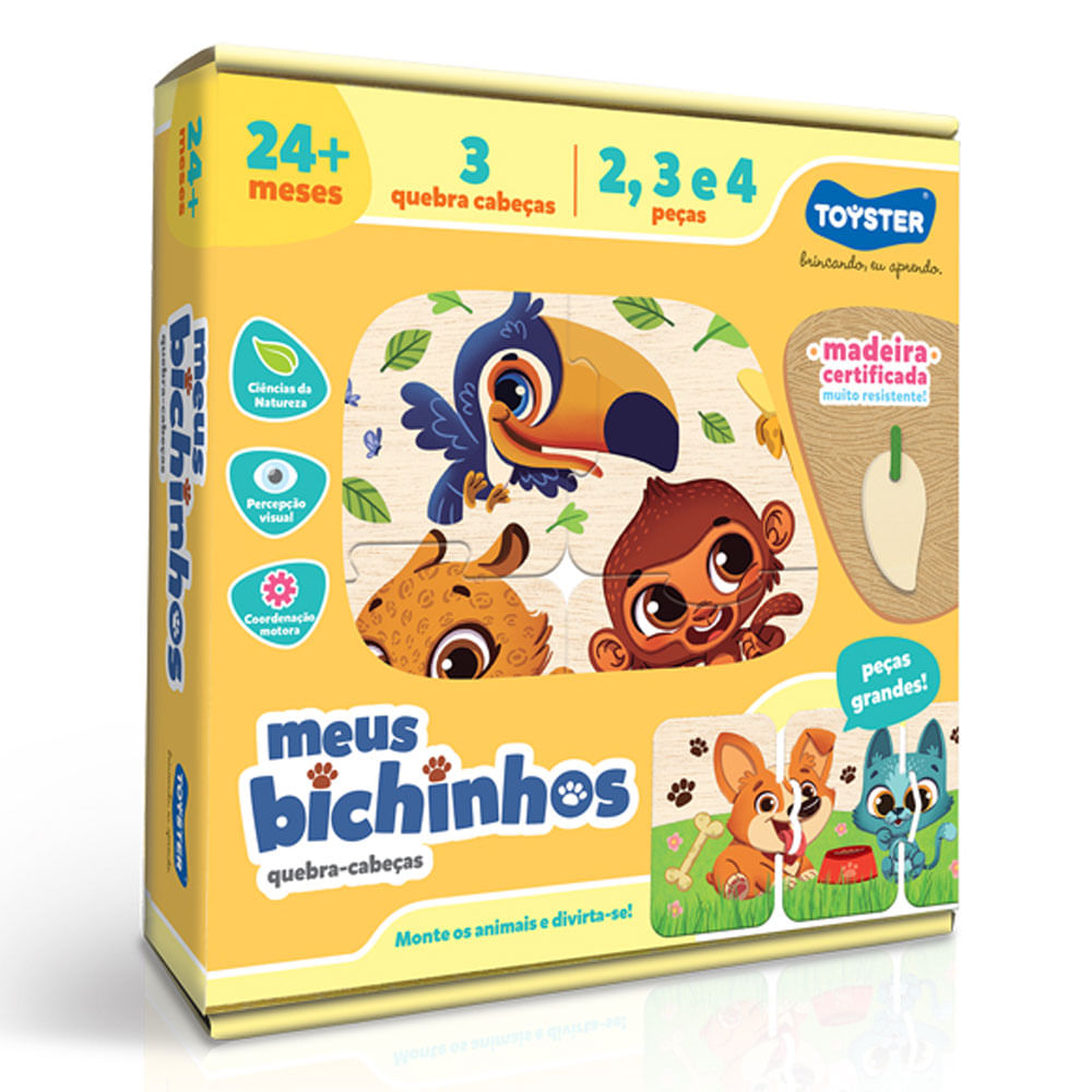 Conjunto de Quebra-Cabeças - 9 Peças - Meus Bichinhos - Toyster