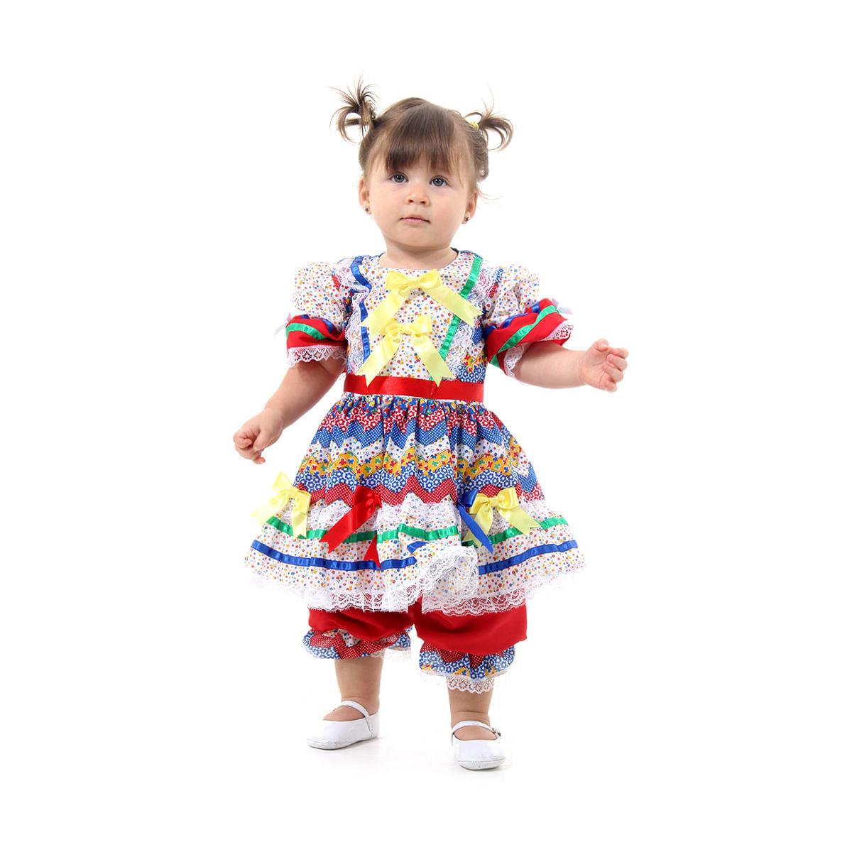 Fantasia Caipira Bebê com Culote Vermelha e Azul - Festa Junina