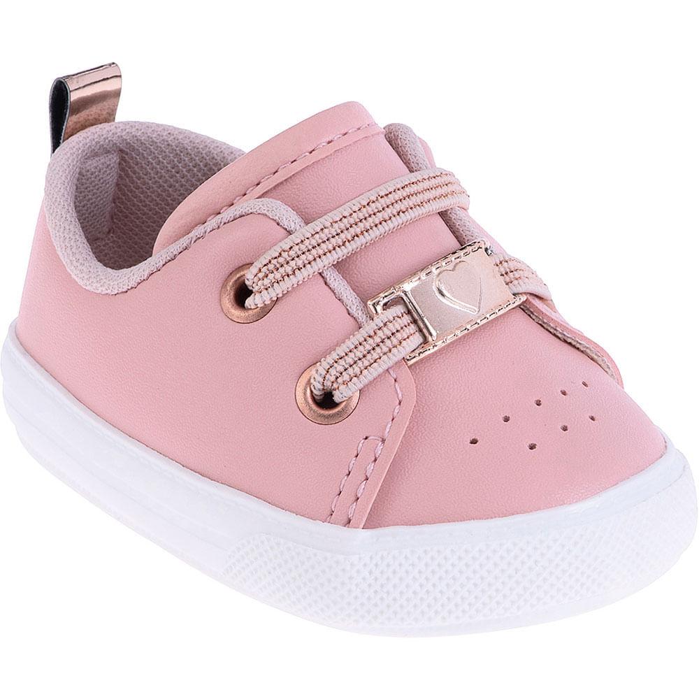 Tênis Infantil - Baby Meninas - Coração Rosa - Pimpolho