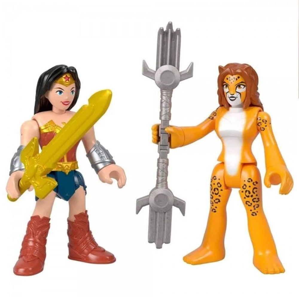 Mini Bonecos - 7 Cm - Mulher Maravilha e Cheetah - Imaginext DC Super Amigos - Fisher-Price