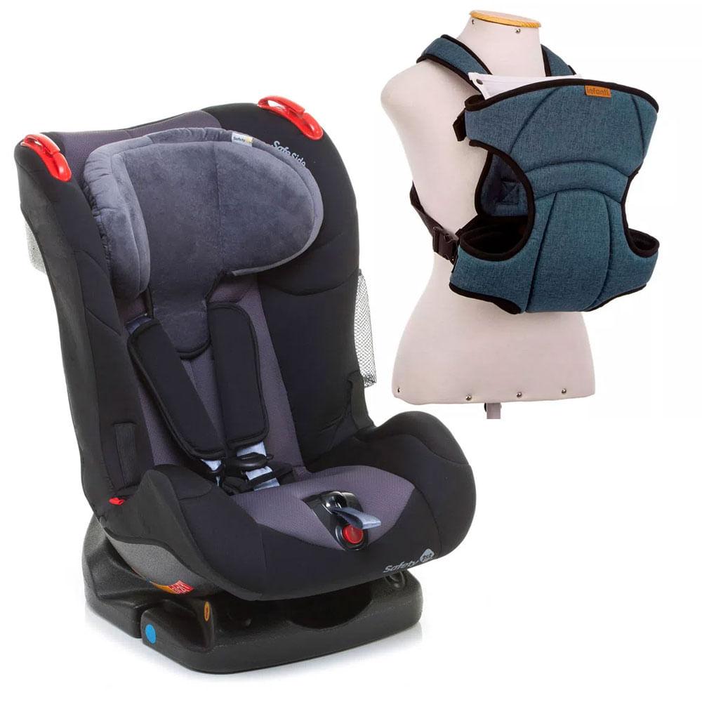 Kit de Cadeira Para Auto - De 0 a 25 Kg - Recline - Black Ink - Safety 1st e Canguru - I Love Travel - Blue - Infanti