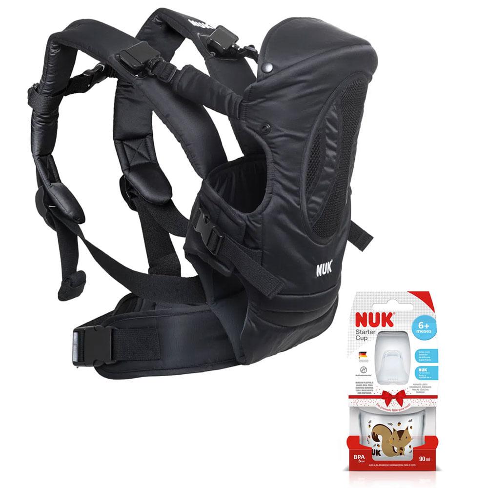 Kit de Canguru 4 em 1 - Carrier Baby - Supreme Confort - Preto e Copo de Treinamento - Starter Cup - 90ml - Nuk
