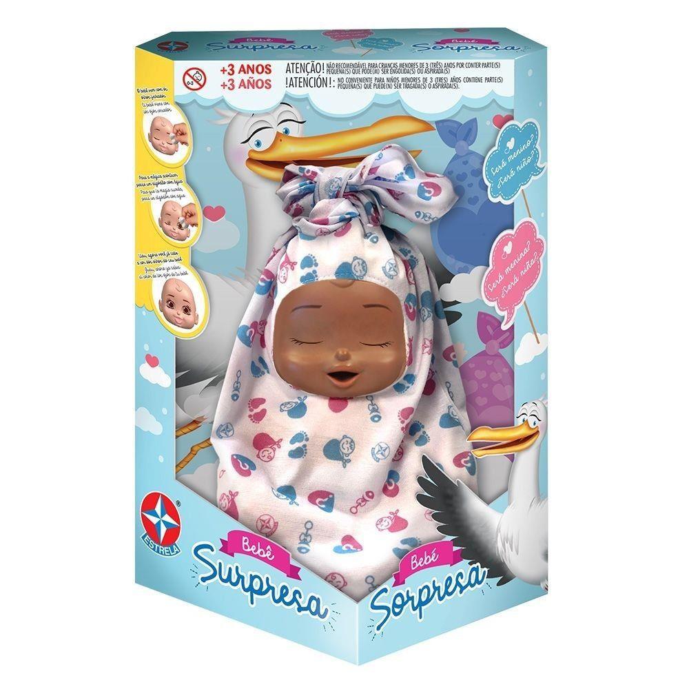 Boneca Bebê Surpresa Negra 25CM - Estrela
