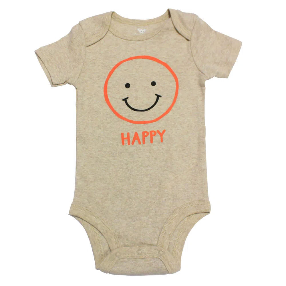 Body Manga Curta - Cinza - Happy - Koala Baby - Babies'R'Us
