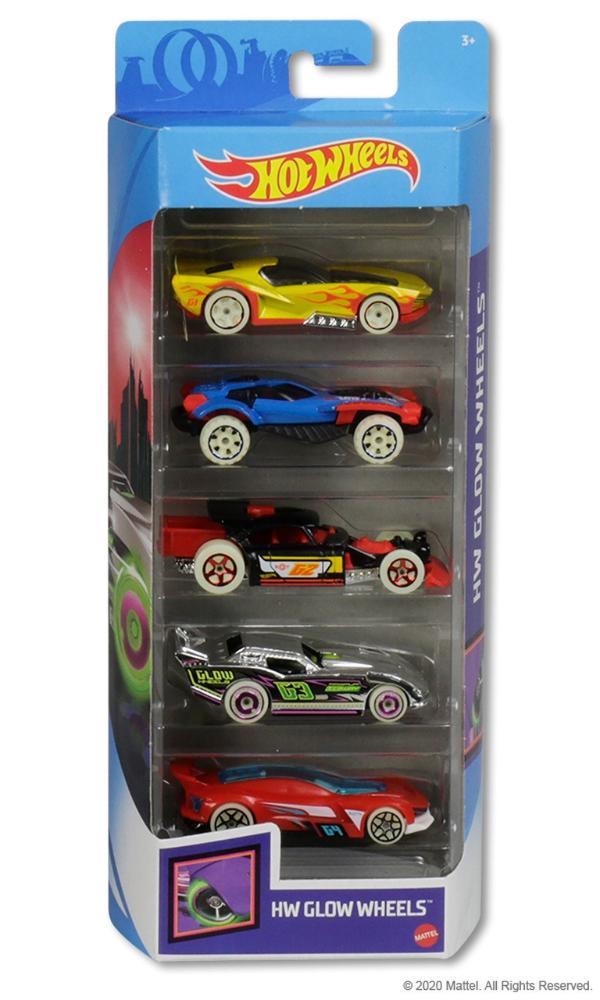 Hot Wheels Kit Com 5 Carrinhos HW Glow Wheels - Mattel GHP65