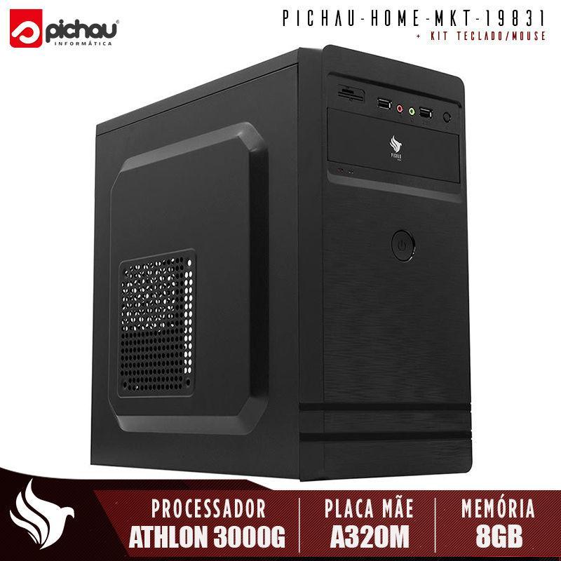 Computador Pichau Home, AMD Athlon 3000G, 8GB DDR4, HD 1TB, 500W, PBS306 + Cabo de Força e Cabo HDMI + Kit Teclado e Mouse TC-240