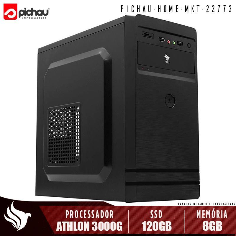 Computador Pichau Home, AMD Athlon 3000G, 8GB DDR4, SSD 120GB, 500W, PBS306 + Cabo de Força e Cabo HDMI