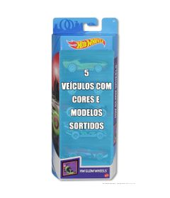 Conjunto-de-Veiculo-Hot-Wheels---Pacote-com-5-Sortidos---Serie-HW-Glow-Wheels---Mattel