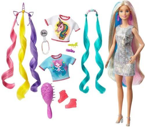 Boneca Barbie Penteados Magico Fantasia Unicornio - 3 Roupas