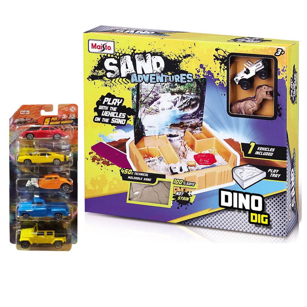 Kit de Conjunto de Arena e Mini Veículos - Sand Adventure - Dino Dig + 5 Veículos Die-Cast Sortidos - Maisto