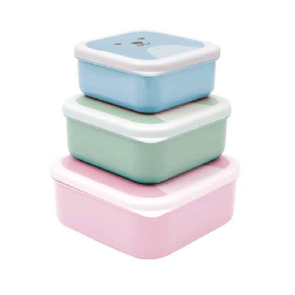 Conjunto De 3 Potinhos Gumy - Rosa - Buba